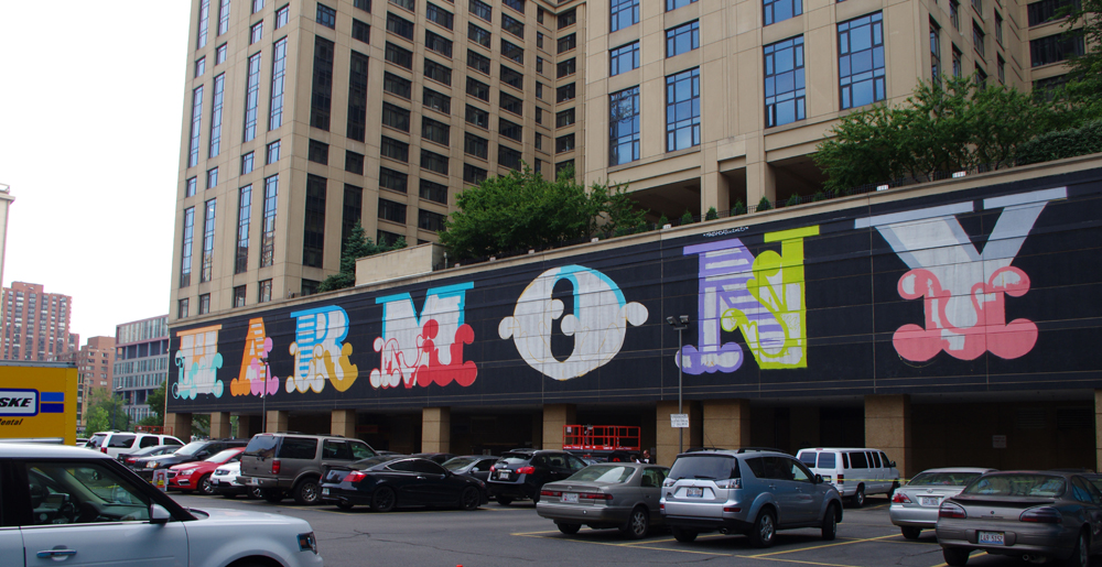 Acclaimed london street artist ben eine eine creates for Chicago mural group